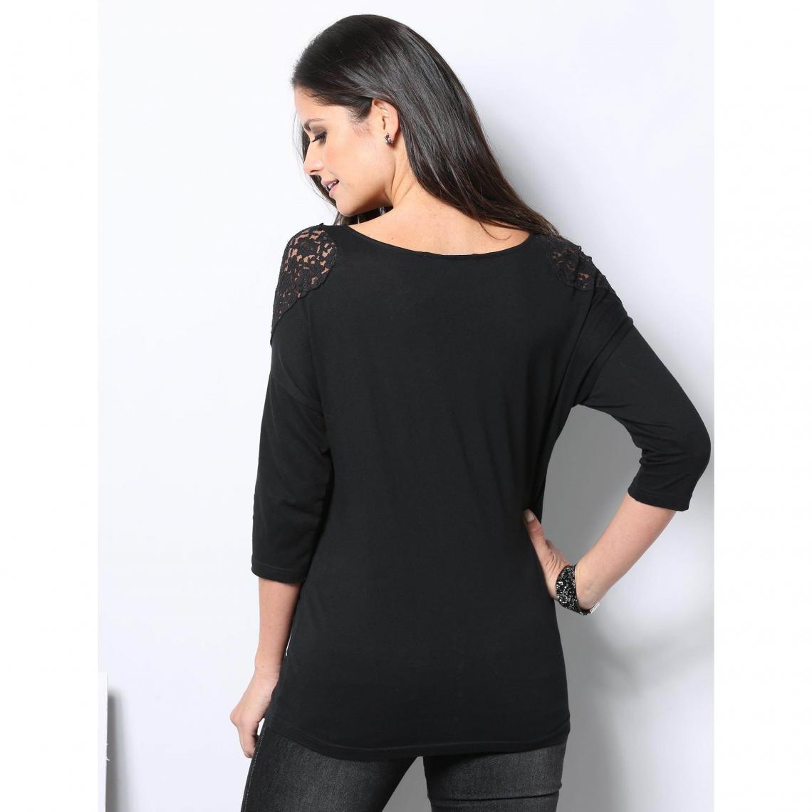 9a0380220624e Tee-shirt manches 3/4 dentelle sur épaules femme - Noir   3 SUISSES