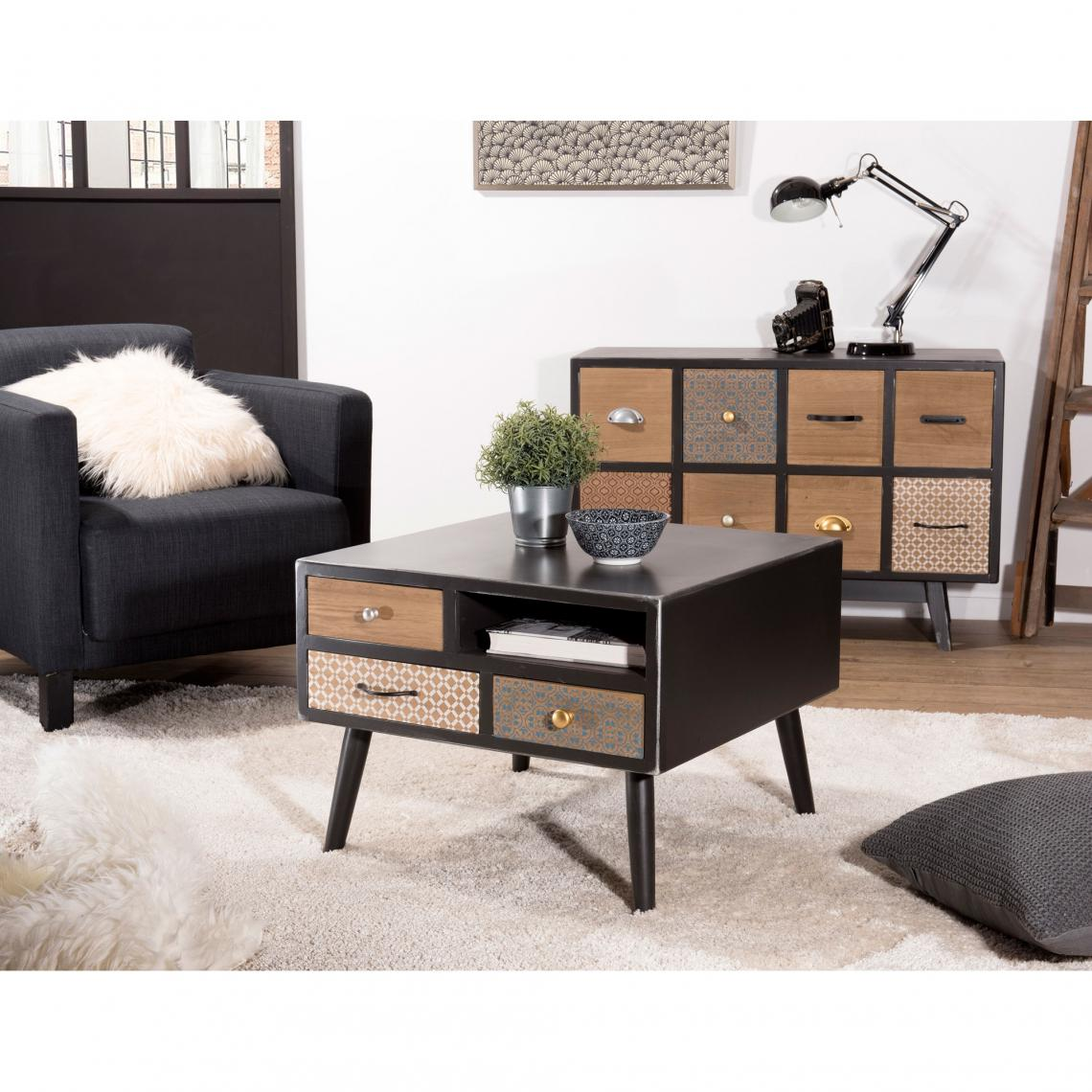 table basse carr e 1 niche 3 tiroirs style scandinave et. Black Bedroom Furniture Sets. Home Design Ideas
