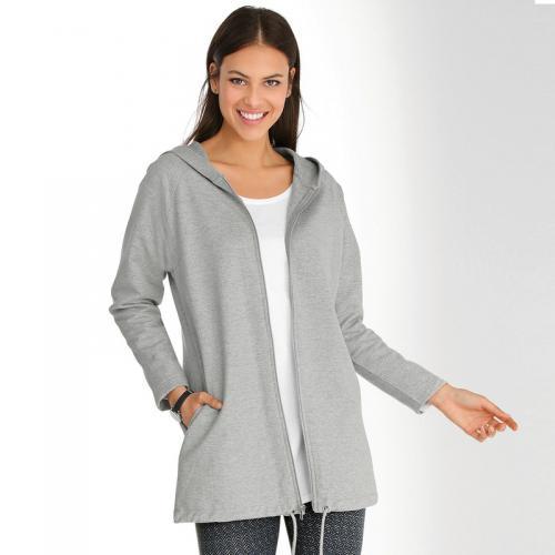 a74b49032a6b 3 SUISSES - Veste zippée à capuche manches longues et cordon de serrage  femme - gris