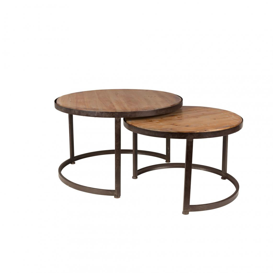 Set de 2 tables basses gigogne rondes en bois et m tal jack 3 suisses - Table de salon gigogne ...