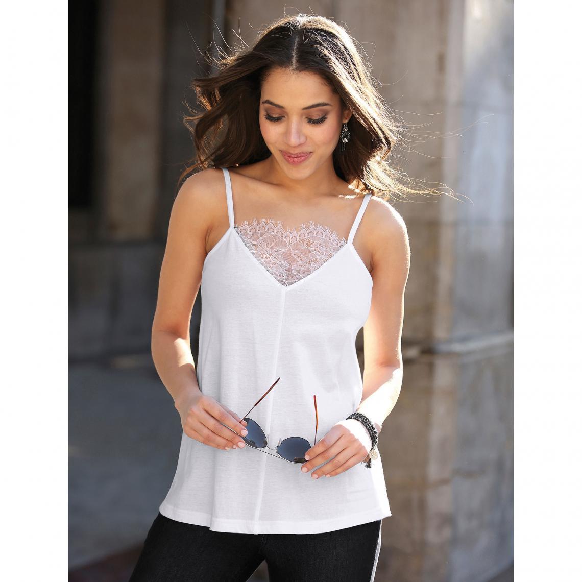 20a0aa7abccb6 Tee-shirt à bretelles col en V avec dentelle femme - Blanc | 3 SUISSES