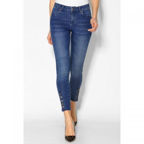 c9231e736 Jean skinny 5 poches bas boutonnés femme - Denim Bleu