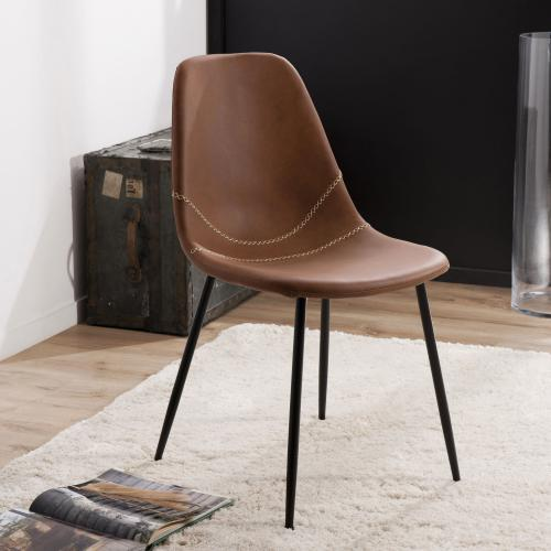 3-suisses - Lot de 2 chaises John - Marron - Chaise, tabouret, banc
