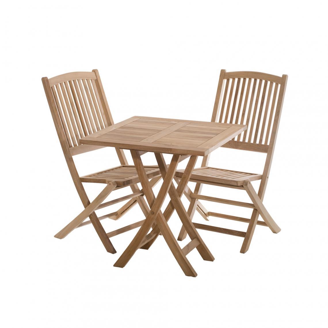 Table carrée pliante 70 cm en teck massif - Teck | 3 SUISSES