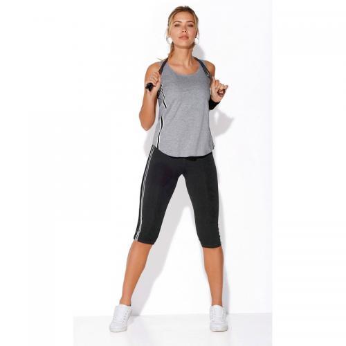 3 SUISSES - Legging corsaire fitness taille élastique rayures latérales  femme Exclusivité 3SUISSES - Noir - ae0dea2ada4
