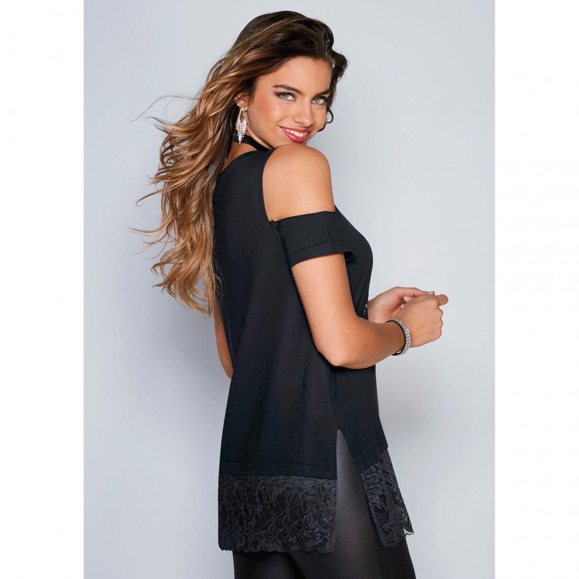 79954be5eac0 Tee-shirt fendu manches courtes épaules dénudées dentelle femme ...