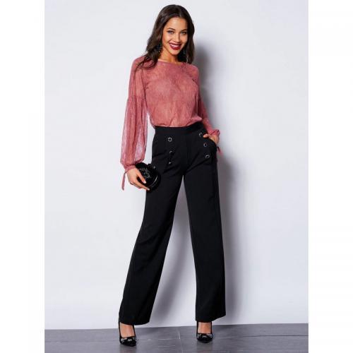 3 Suisses - Pantalon boutons fantaisie poches et pinces femme exclusivité  3Suisses - Noir - Pantalons d2561fddbd1c