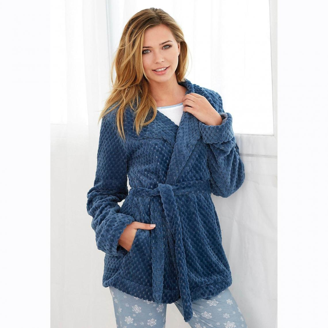 Robe de chambre polaire ceinture poches femme - Bleu | 3 SUISSES