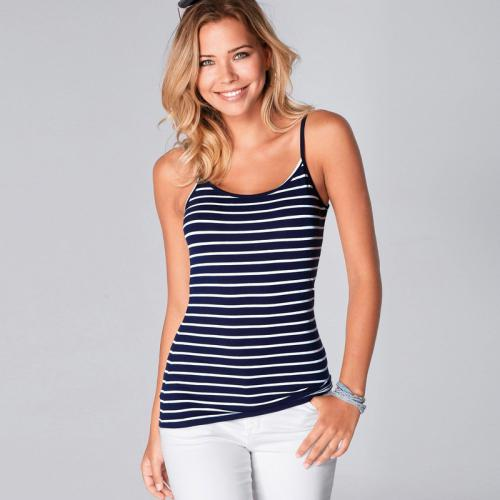 3c40d20bb7584 3 Suisses - Tee-shirt à bretelles rayé femme Exclusivité 3SUISSES - Rayé  Bleu Marine