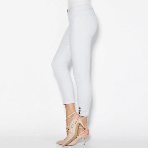 9ffdf00ffd8bf 3 Suisses - Pantalon skinny 5 poches pressions sur bas femme Exclusivité  3SUISSES - Blanc -