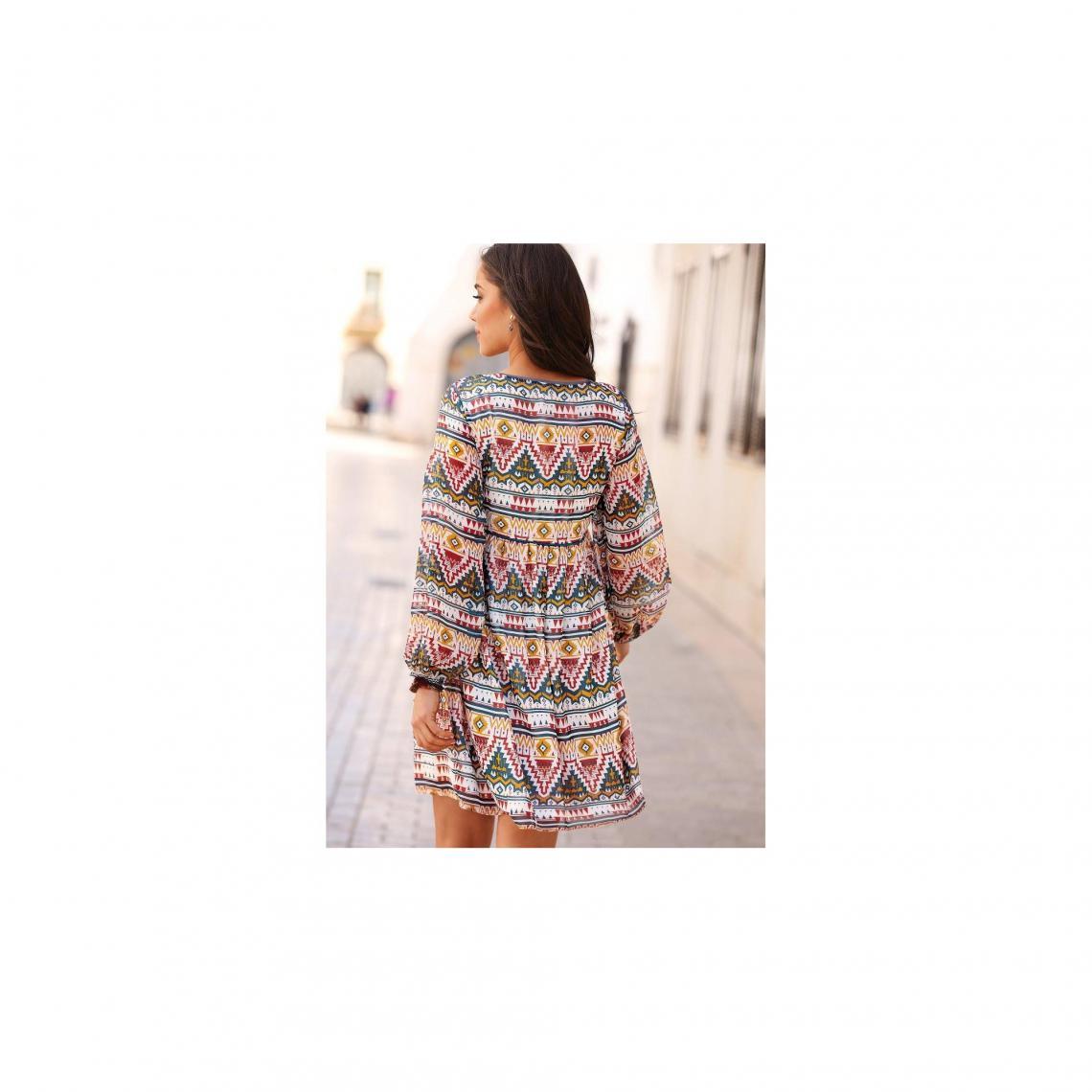 b3436336370 Robes courtes femme 3 SUISSES Cliquez l image pour l agrandir. Robe courte imprimée  manches longues élastiquées ...