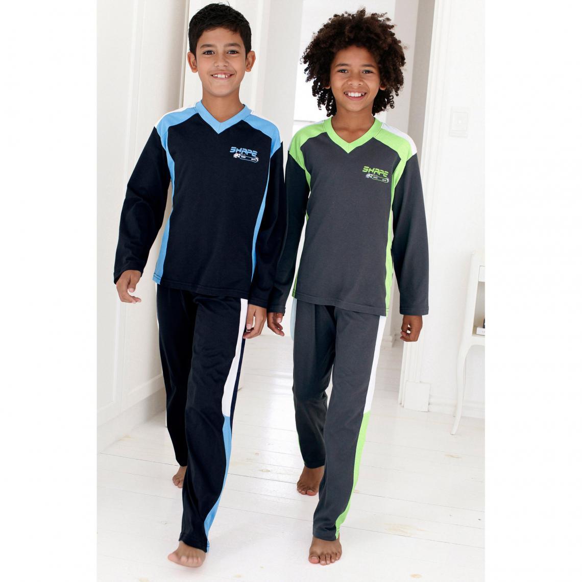 Lot de 2 pyjamas manches longues coton gar�on - Gris - 3Suisses