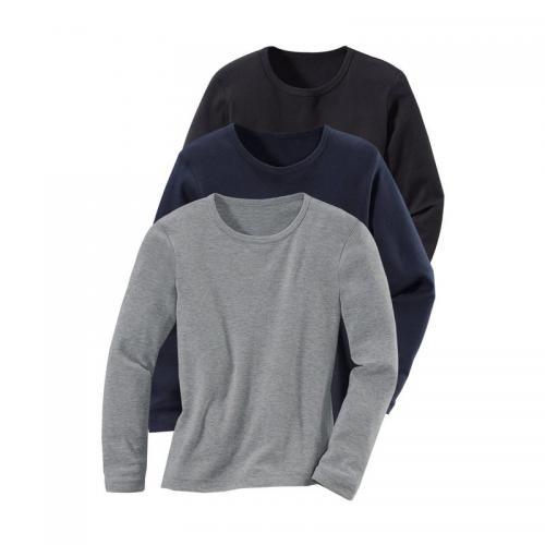 ec1a52059784e 3 SUISSES - Lot de 3 t-shirts col rond manches longues enfant - Bleu