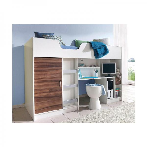 lit mezzanine avec plan de travail armoire tag res multicolore 3suisses. Black Bedroom Furniture Sets. Home Design Ideas