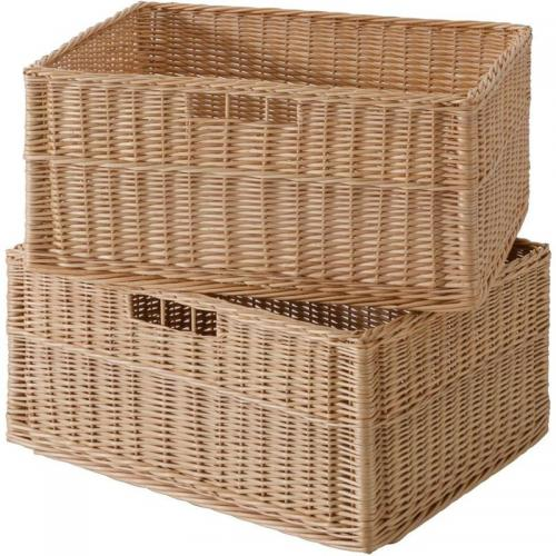 3 SUISSES - Lot de 2 paniers de rangement en osier, grand format - Beige - Promotions