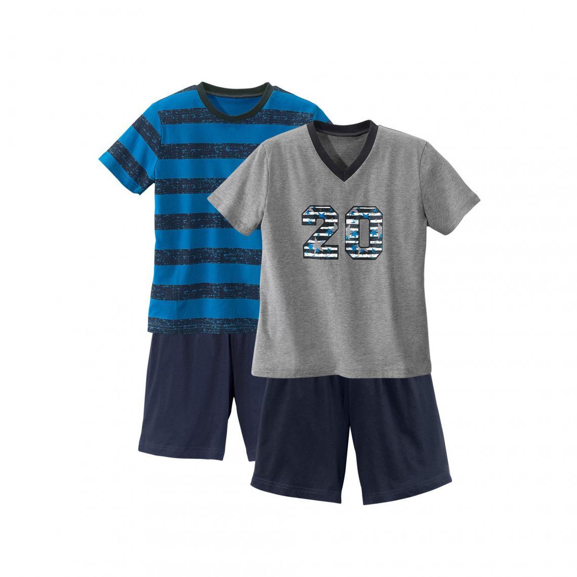 fe70403530969b Lot de 2 pyjashorts manches courtes garçon - Gris + Turquoise 3 Suisses  Enfant
