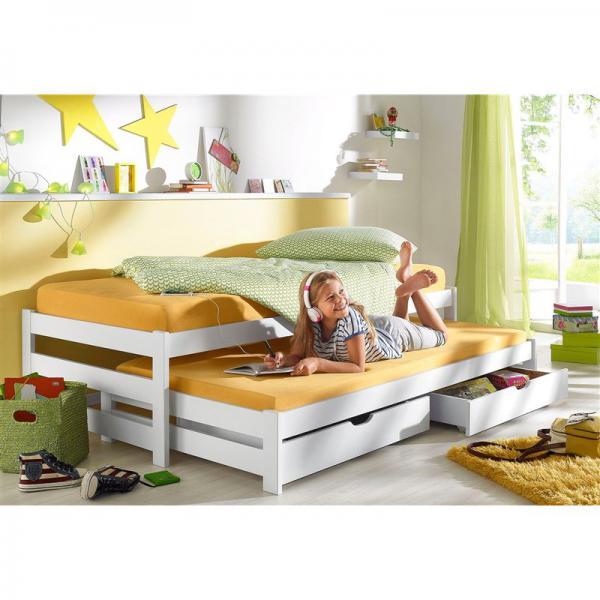 lit gigogne 1 personne 2 tiroirs en pin massif blanc. Black Bedroom Furniture Sets. Home Design Ideas