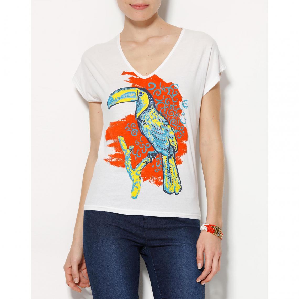 T Suisses Perroquet Femme Blanc3 Shirt Motif 6vY7bfgy