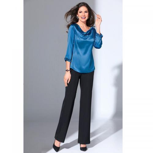 6aa771a0a0d 3 SUISSES - Pantalon large femme élastique taille haute - Noir - Pantalons  larges femme