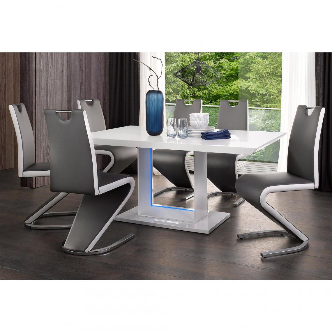Table Salle A Manger Design Rectangulaire 6 Cou Avec Eage Led