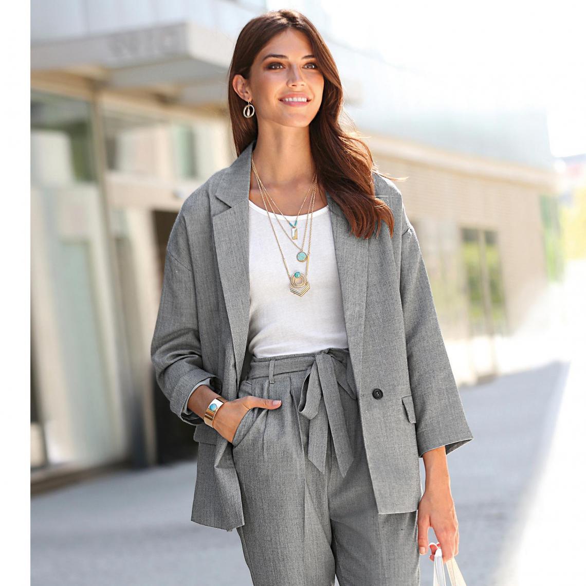 Veste tailleur femme Exclusivité 3SUISSES - Gris 3 Suisses Femme 5ddf56815e11