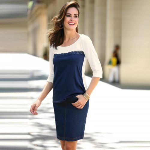 47af996e41bf 3 SUISSES - Jupe femme - Bleu - Jupes courtes femme