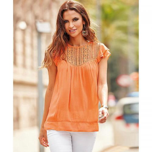 6f6919ea7706d5 3 Suisses - Blouse sans manches encolure en guipure femme Exclusivité  3SUISSES - Orange - Blouses