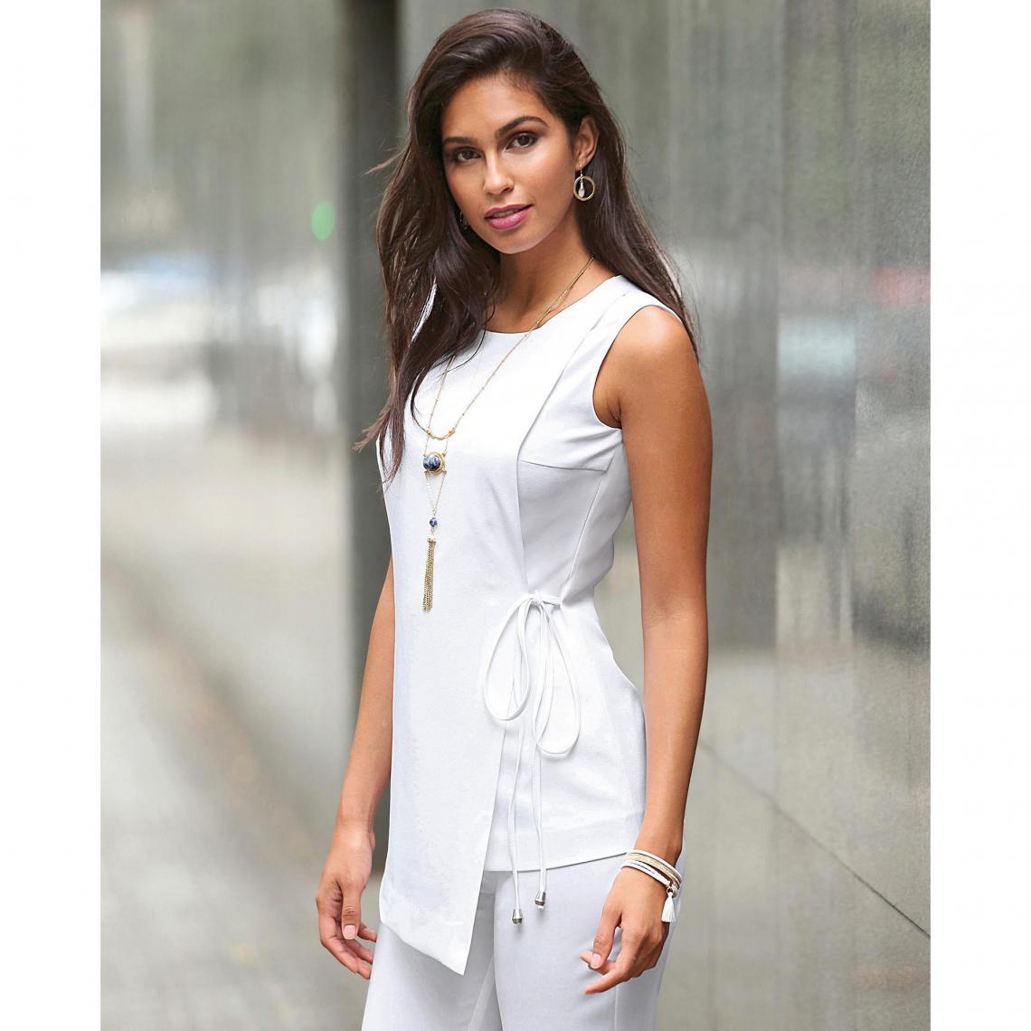 f72e38ad462 Tee-shirt sans manches effet cache-coeur femme - Blanc 3 SUISSES Femme