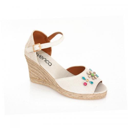82e621aa3f073b 3 SUISSES - Sandales à talon compensé femme - Beige - Chaussures femme