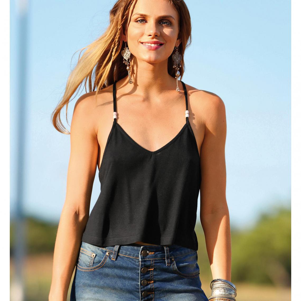 Tee-shirt bretelles dos croisé femme Exclusivité 3SUISSES - Noir 3 SUISSES  Femme 34986c96f2f