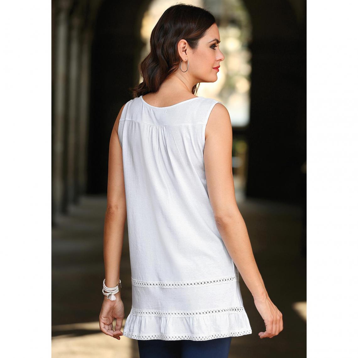 9e6974bad63a Tee shirt débardeur femme - Blanc