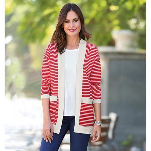 3 Suisses - Gilet manches longues femme avec poches Exclusivité 3SUISSES -  Rouge - Gilets col 79d81eebe15