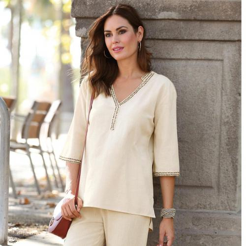 Blouse col mao manches 34 femme - Beige