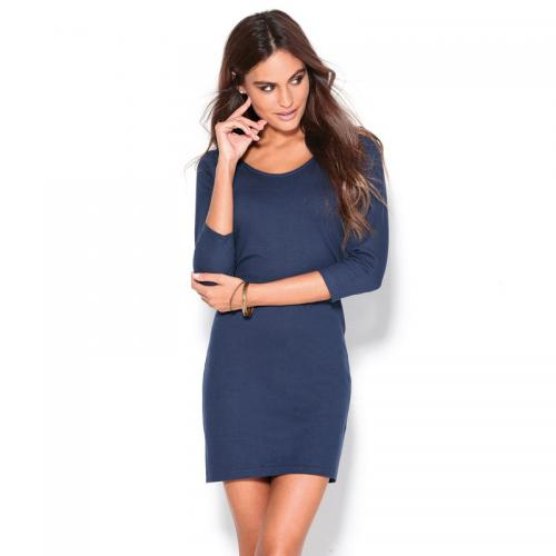 3 SUISSES - Robe courte manches longues col rond femme - Bleu - Robe