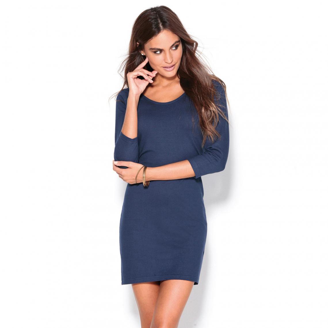 Robe courte manches longues col rond femme Exclusivité 3SUISSES - Bleu  Marine 3 Suisses Femme 234d411b15e8