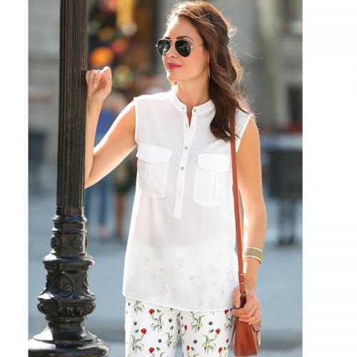 3 SUISSES - Blouse sans manches col mao poches plaquées femme Exclusivité  3SUISSES - Blanc - fdaae22f901