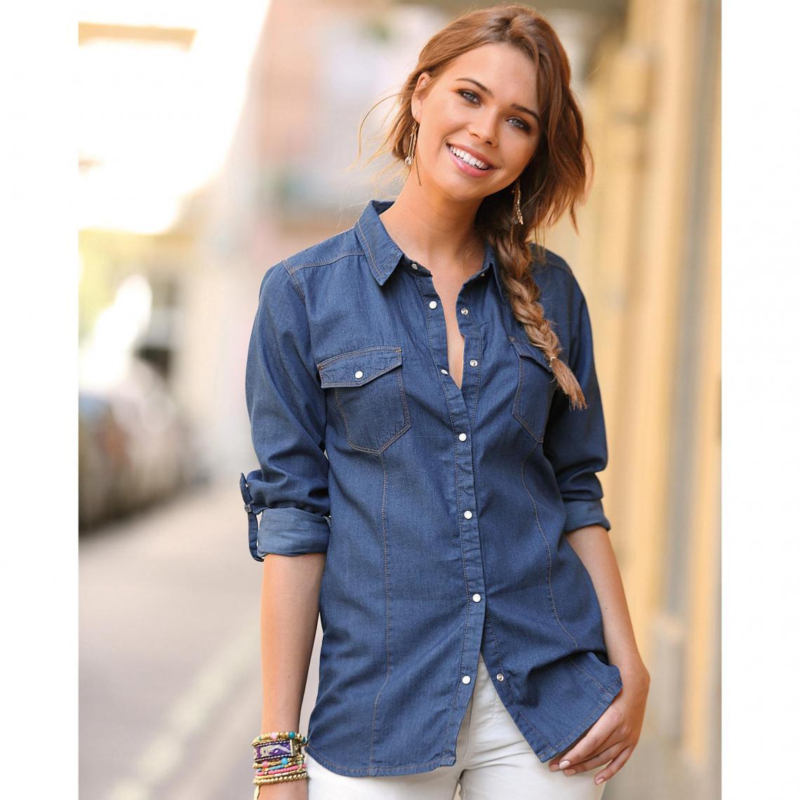 Chemise en jean manches longues ajustables femme Bleu | 3