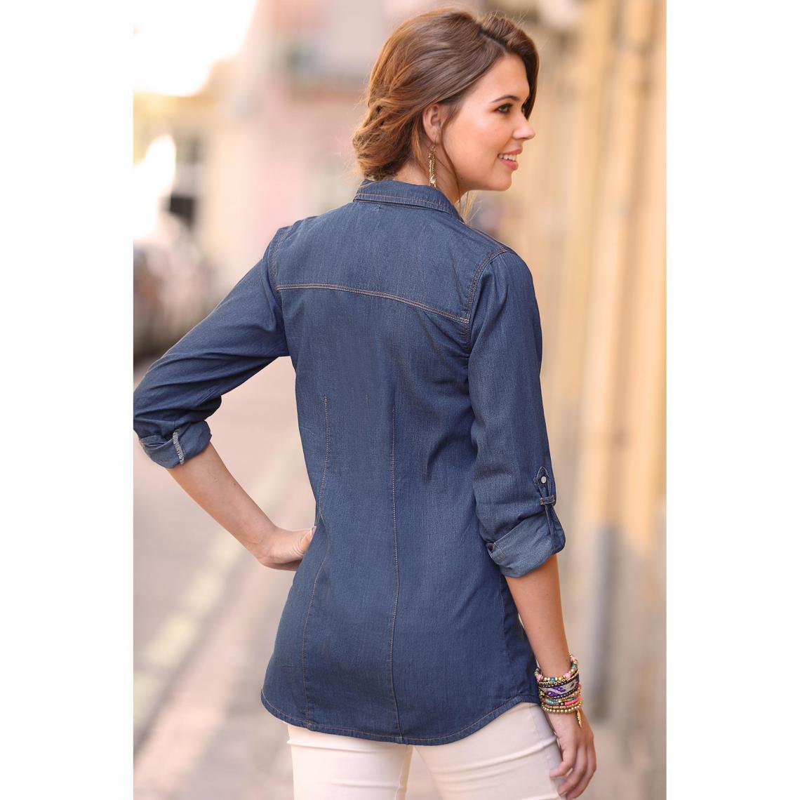 17a3497fb6 Chemise en jean manches longues ajustables femme - Bleu | 3 SUISSES