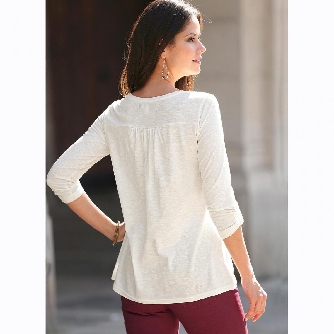 85740c954fe Tee-shirt manches longues tissus contratés femme - Blanc