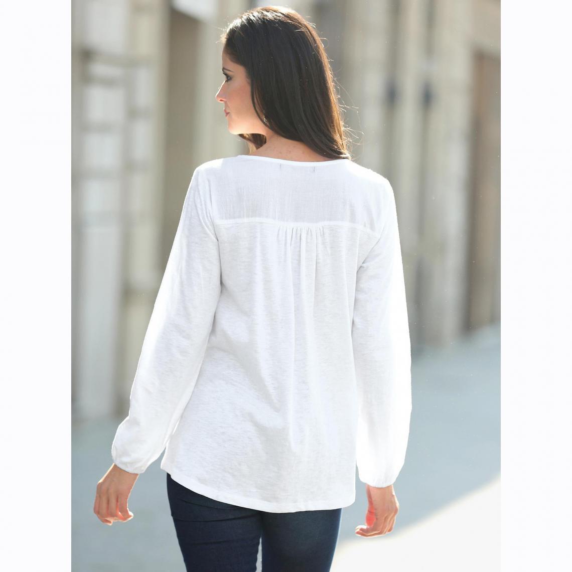 c275a375f32 Tee-shirt nid d abeille manches longues femme - Blanc