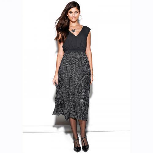 67fa7f55a7ef 3 SUISSES - Robe longue sans manches bas plissé femme - argenté - Robes de  soirée