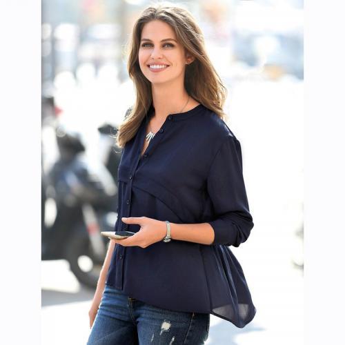 449a0c74449f1 3 Suisses - Chemise froncée manches longues col mao femme Exclusivité  3SUISSES - Bleu - Blouses