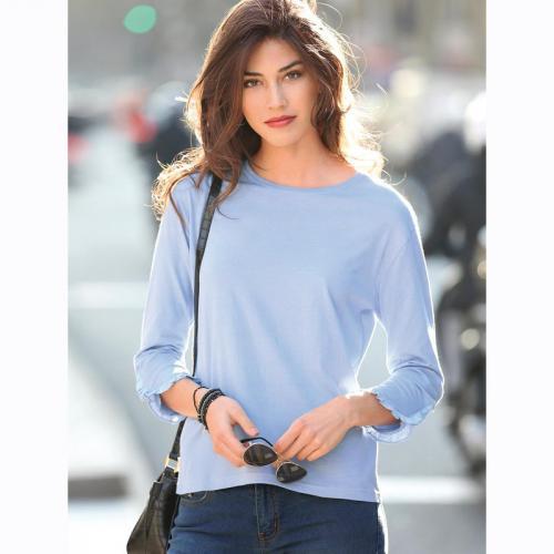 7ac301a8efced 3 Suisses - Tee-shirt manches longues ouvertes volants femme Exclusivité  3SUISSES - Bleu -