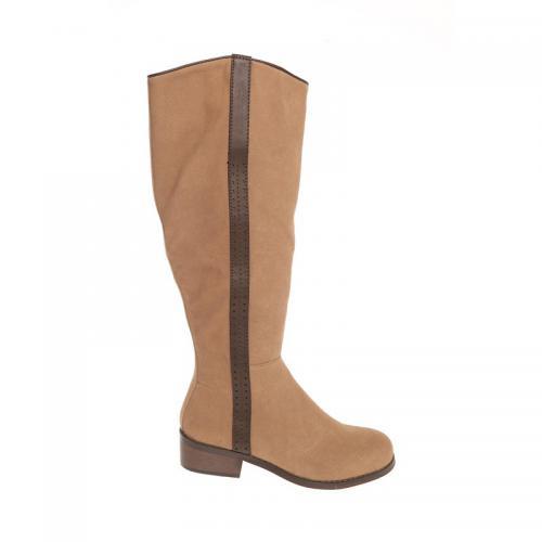 ab24f05426b259 3 SUISSES - Bottes doublées bandes contrastées zippées femme - Camel - Chaussures  femme
