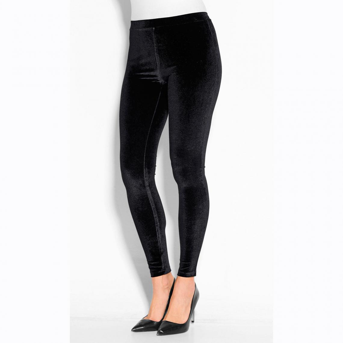 Tregging en velours uni taille élastique femme Noir 2 Avis Plus de détails