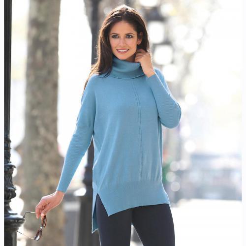 973dad14e7a41 3 Suisses - Pull col roulé dos fantaisie asymétrique femme Exclusivité  3SUISSES - Bleu - Pulls