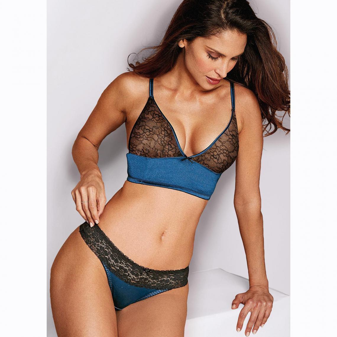 Culotte brésilienne en satin et dentelle femme Exclusivité 3SUISSES - Noir  - Bleu 3 SUISSES 03878772eb5