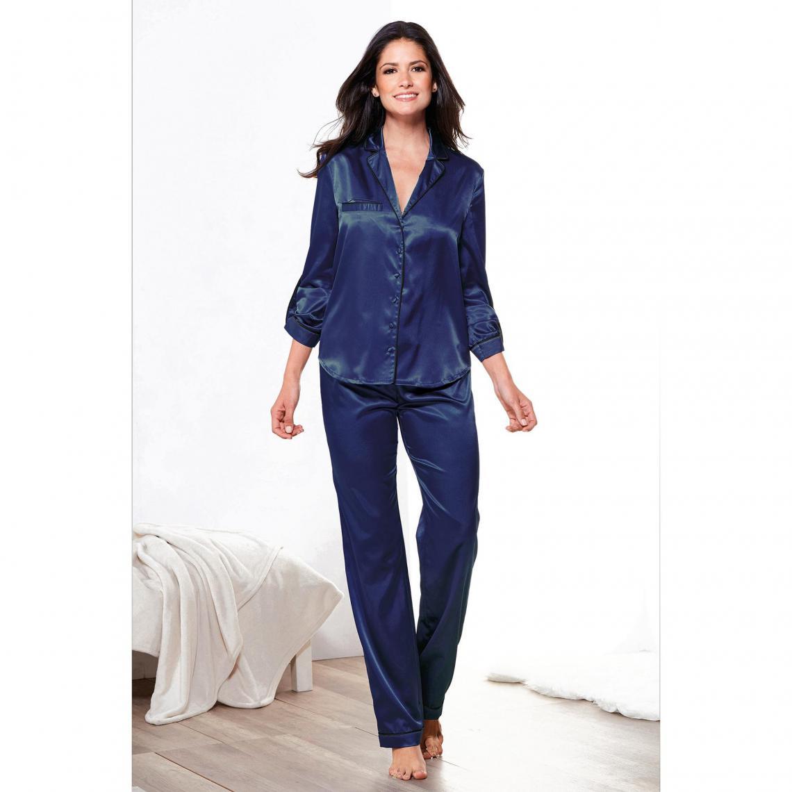 grosses soldes grand ajustement super populaire Pyjama en satin blouse et pantalon femme - Bleu Nuit | 3 SUISSES