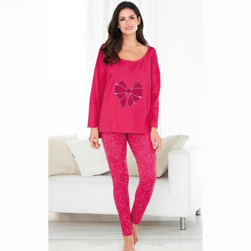 372006dcfcb94 3 SUISSES - Pyjama manches longues legging imprimé femme - Rose Framboise - Ensembles  et pyjamas