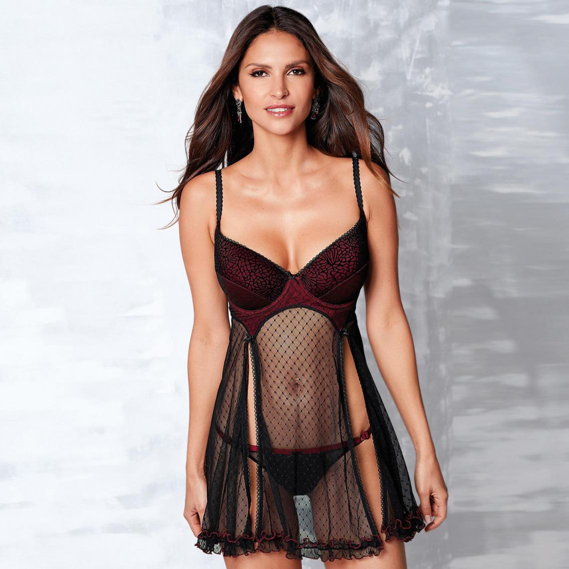 a593360fa7d Combinette armatures mousseline fendue femme - Rouge - Noir 3 SUISSES  Lingerie femme
